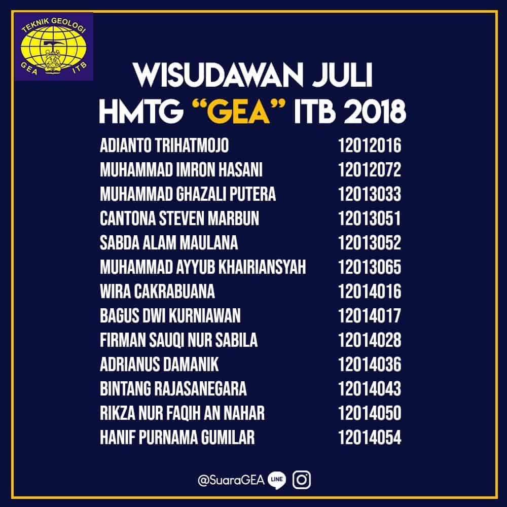 "Wisuda Juli HMTG ""GEA"" ITB 2018"