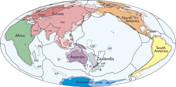 Peta sederhana dari lempeng tektonik dan benua, termasuk Zealandia